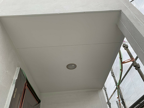 小牧市M様邸 ジョリパット範囲:下塗り1回目完了、下塗り、ジョリパット範囲:下塗り2回目